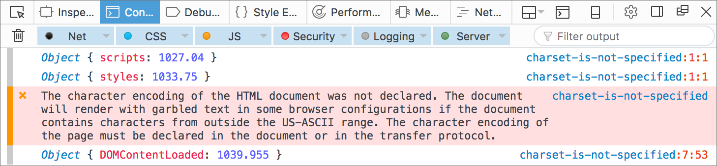 Firefox Web Console: Character encoding is not specified