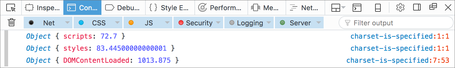 Firefox Web Console: Character encoding is specified